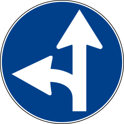 Traffic sign of Italy: Driving straight ahead or turning left mandatory