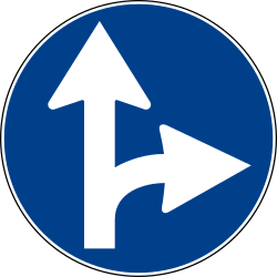 Traffic sign of Italy: Driving straight ahead or turning right mandatory