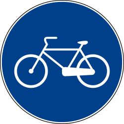Traffic sign of Italy: Mandatory path for cyclists