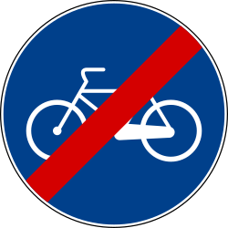 Traffic sign of Italy: End of the path for cyclists