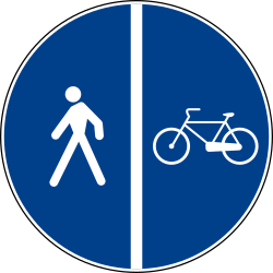Traffic sign of Italy: Mandatory divided path for pedestrians and cyclists