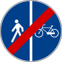 Traffic sign of Italy: End of the divided path for pedestrians and cyclists