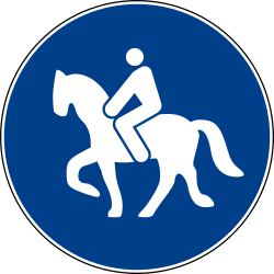 Traffic sign of Italy: Mandatory path for equestrians