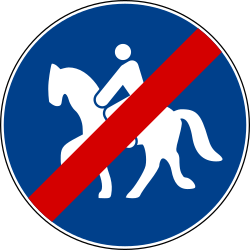 Traffic sign of Italy: End of the path for equestrians