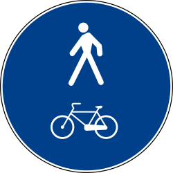 Traffic sign of Italy: Mandatory shared path for pedestrians and cyclists