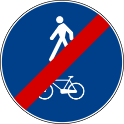 Traffic sign of Italy: End of the shared path for pedestrians and cyclists