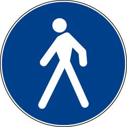 Traffic sign of Italy: Mandatory path for pedestrians