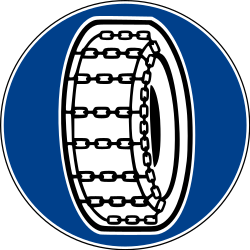 Traffic sign of Italy: Snow chains mandatory