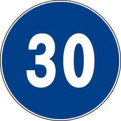 Traffic sign of Italy: Begin of a minimum speed