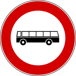 Traffic sign of Italy: Buses prohibited