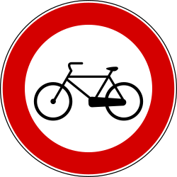 Traffic sign of Italy: Cyclists prohibited
