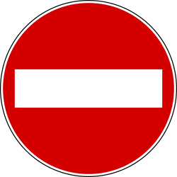 Traffic sign of Italy: Entry prohibited (road with one-way traffic)