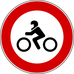 Traffic sign of Italy: Motorcycles prohibited