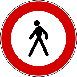 Traffic sign of Italy: Pedestrians prohibited