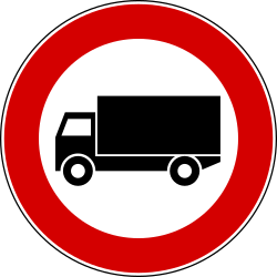 Traffic sign of Italy: Trucks prohibited