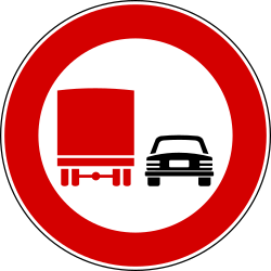 Traffic sign of Italy: Overtaking prohibited for trucks