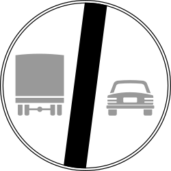 Traffic sign of Italy: End of the overtaking prohibition for trucks