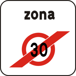 Traffic sign of Italy: End of the zone with speed limit