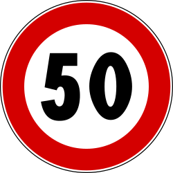 Traffic sign of Italy: Driving faster than indicated prohibited (speed limit)