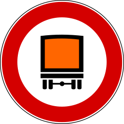 Traffic sign of Italy: Vehicles with dangerous goods prohibited