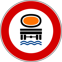 Traffic sign of Italy: Vehicles with polluted fluids prohibited