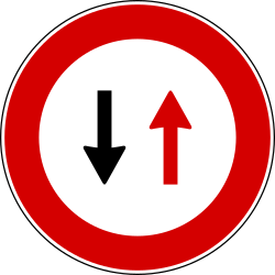 Traffic sign of Italy: Road narrowing, give way to oncoming drivers