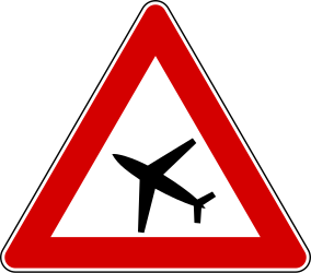 Traffic sign of Italy: Warning for low-flying aircrafts