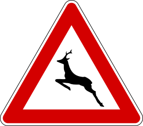 Traffic sign of Italy: Warning for crossing deer
