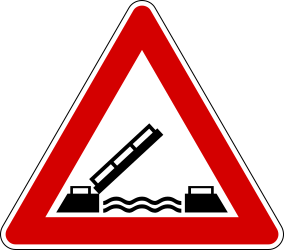Traffic sign of Italy: Warning for a movable bridge