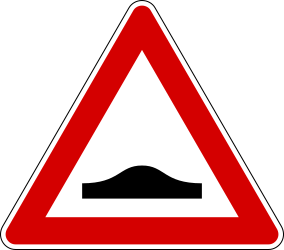 Traffic sign of Italy: Warning for a speed bump