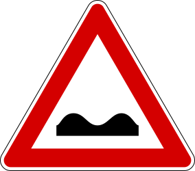 Traffic sign of Italy: Warning for a bad road surface
