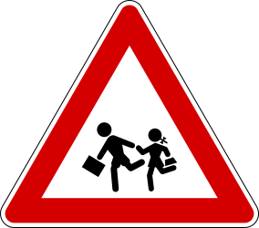 Traffic sign of Italy: Warning for children