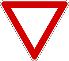 Traffic sign of Italy: Give way to all drivers