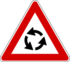 Traffic sign of Italy: Warning for a roundabout