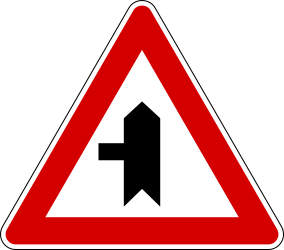Traffic sign of Italy: Warning for a crossroad with a side road on the left