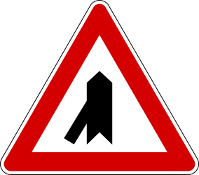 Traffic sign of Italy: Warning for a crossroad with a sharp side road on the left