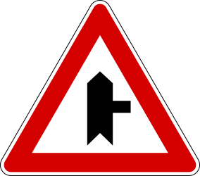 Traffic sign of Italy: Warning for side road on the right