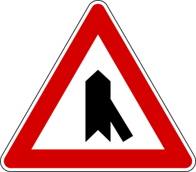 Traffic sign of Italy: Warning for a crossroad with a sharp side road on the right
