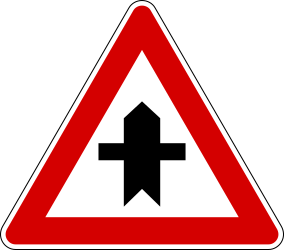 Traffic sign of Italy: Warning for a crossroad side roads on the left and right