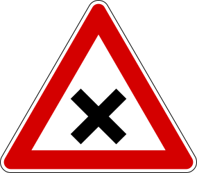 Traffic sign of Italy: Warning for an uncontrolled crossroad