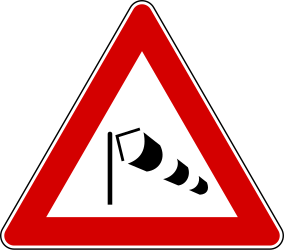 Traffic sign of Italy: Warning for heavy crosswind