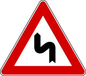 Traffic sign of Italy: Warning for a double curve, first left then right