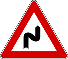 Traffic sign of Italy: Warning for a double curve, first right then left