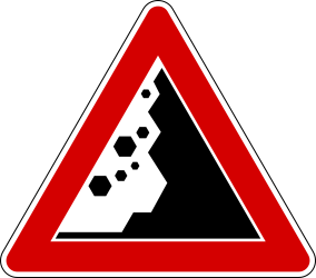 Traffic sign of Italy: Warning for falling rocks