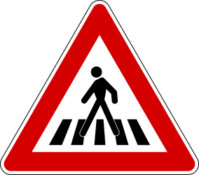 Traffic sign of Italy: Warning for a crossing for pedestrians