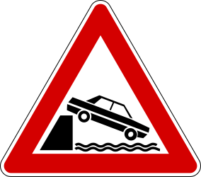 Traffic sign of Italy: Warning for a quayside or riverbank