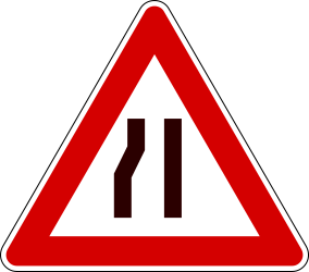 Traffic sign of Italy: Warning for a road narrowing on the left