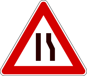 Traffic sign of Italy: Warning for a road narrowing on the right