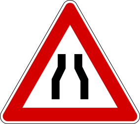 Traffic sign of Italy: Warning for a road narrowing