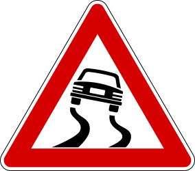 Traffic sign of Italy: Warning for a slippery road surface